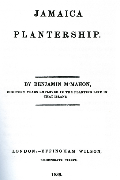Title page from Bejamin McMahon's Jamaica Plantership
