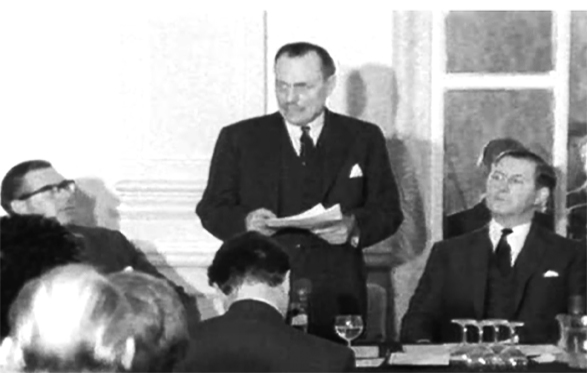 Enoch Powell delivers his 'Rivers of Blood' speech at the Midland Hotel