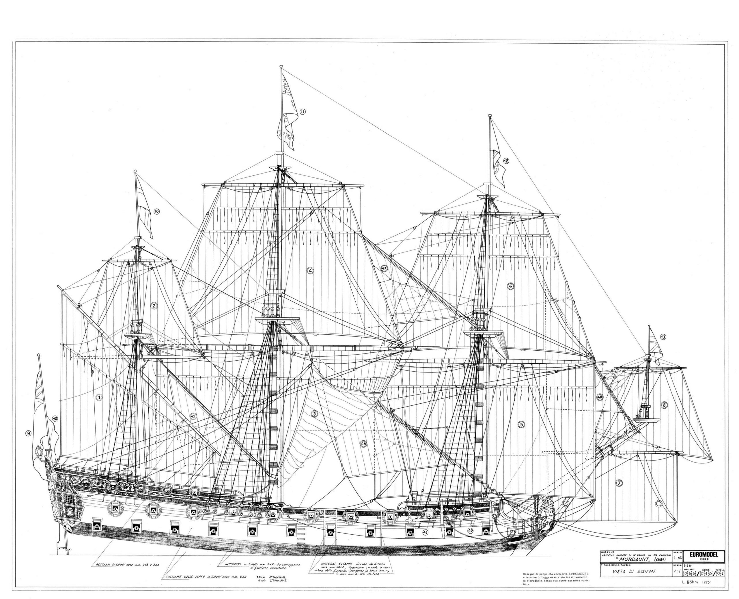 Plan of a 4th rate ship of the line