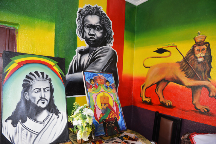 paintings and artwork in the home of Dr Gladstone Robinson, pioneer rasta in ethiopia